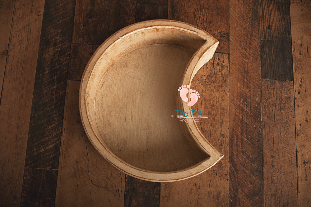 Wooden Moon Shaped Bowls - Newborn Photo Props - Shop for Newborn Photo Props Online - Tiny Tot Prop Shop
