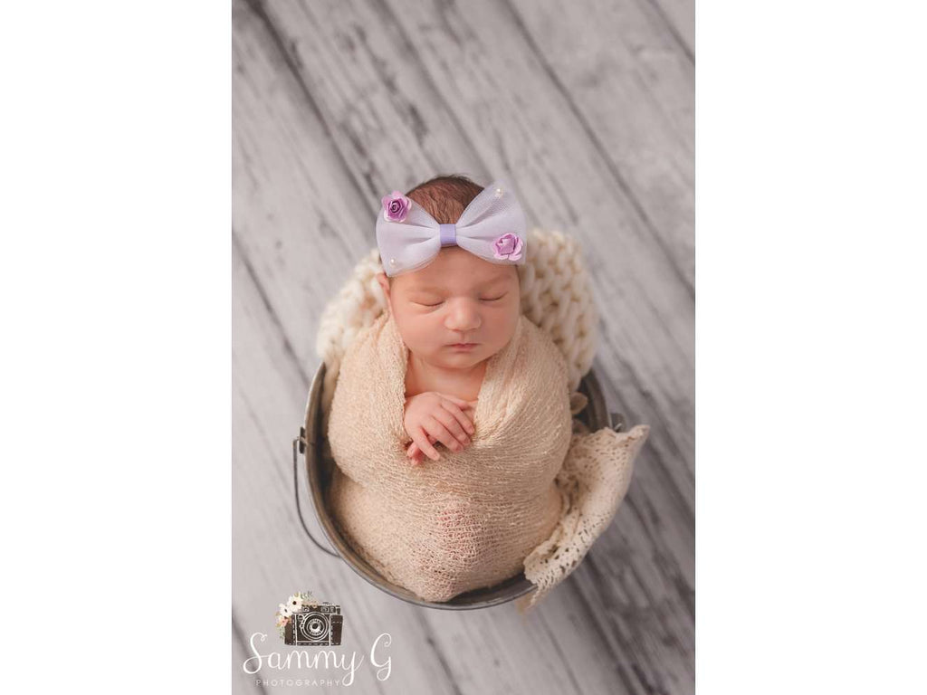 Stretchy Newborn Headband - Nylon Headband - Floral Headband - Newborn Photo Props Canada - Tiny Tot Prop Shop