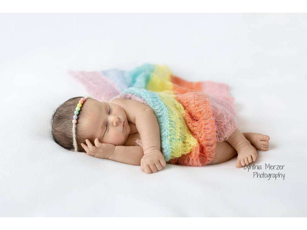 Pastel Rainbow Mohair Wrap and Tieback Set - Newborn Photo Props - Shop for Newborn Photo Props Online - Tiny Tot Prop Shop