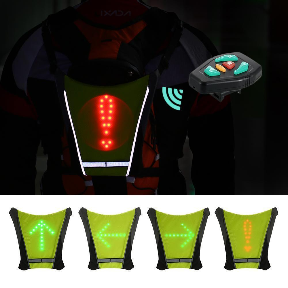 Practical Bicycle Backbag Led Wireless Cycling Vest Safety Bag Led Turn Signal Light Bike Bag Vest Bicycle Reflective Warning Vests Bicycle Accessories