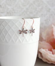 Load image into Gallery viewer, Little Dragonfly Earrings - Antiqued Copper