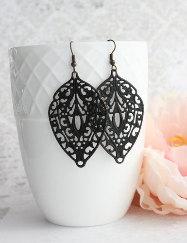 Big Filigree Earrings - Black