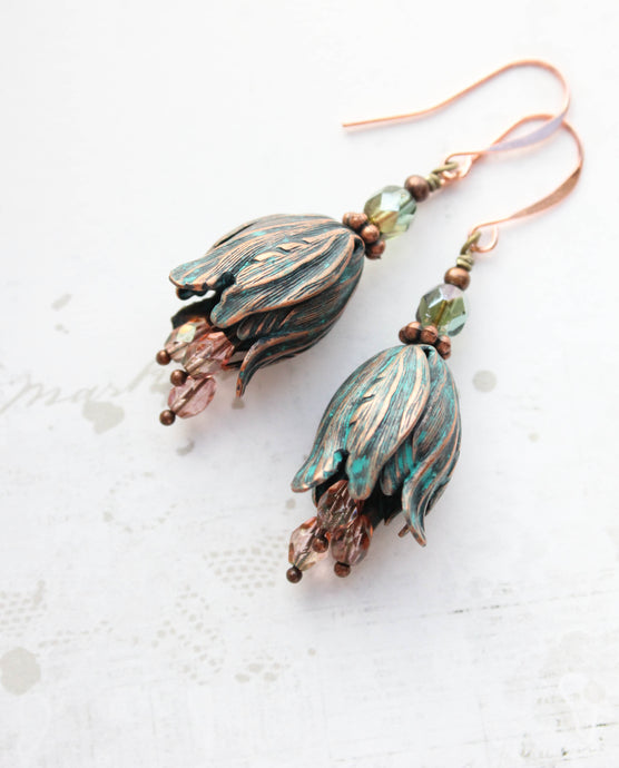 Tulip Earrings - Aqua Copper