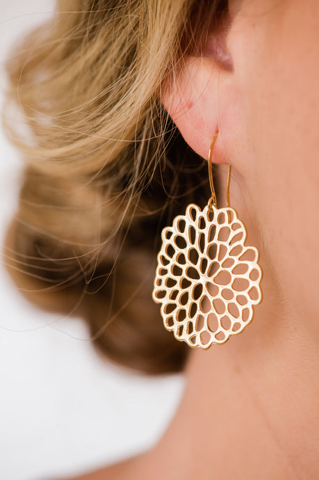 Gold Abstract Mum Earrings NEW