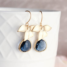 Load image into Gallery viewer, Silver Orchid Earrings - Navy
