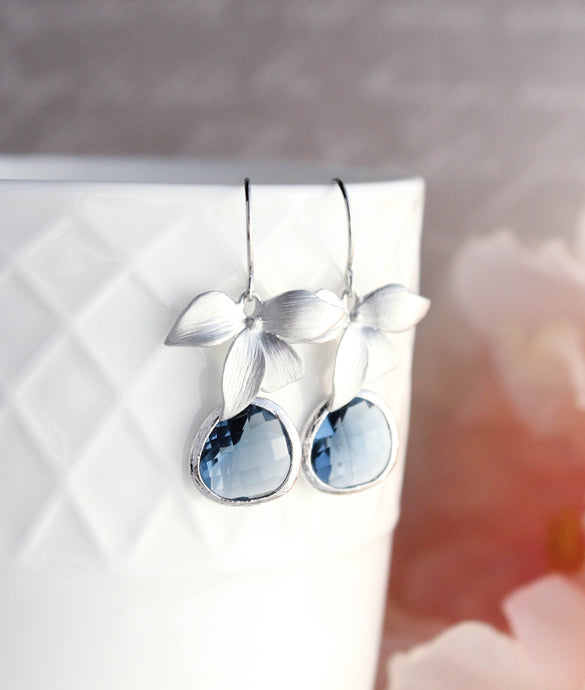 Silver Orchid Earrings - Navy