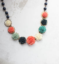 Load image into Gallery viewer, Rose Bib Necklace - Navy and Coral