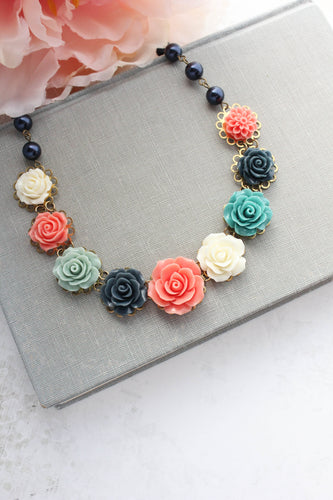 Rose Bib Necklace - Navy and Coral NEW