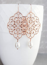 Load image into Gallery viewer, Rose Gold Filigree Earrings (14 Pearl Colors)