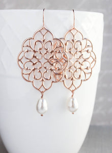 Rose Gold Filigree Earrings (14 Pearl Colors) NEW