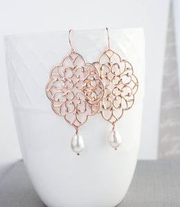 Rose Gold Filigree Earrings (14 Pearl Colors)
