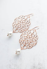 Load image into Gallery viewer, Rose Gold Filigree Earrings (14 Pearl Colors) NEW