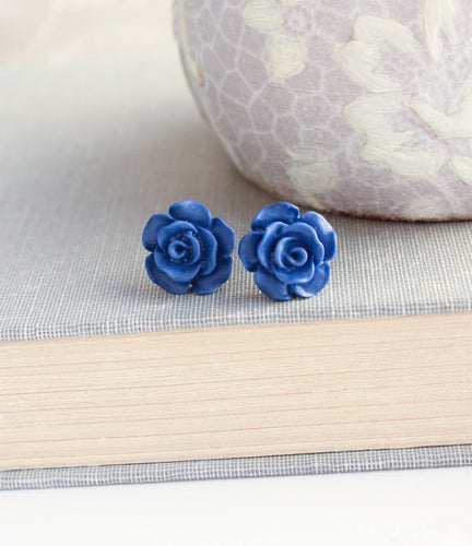 Rose Studs - Classic Royal Blue