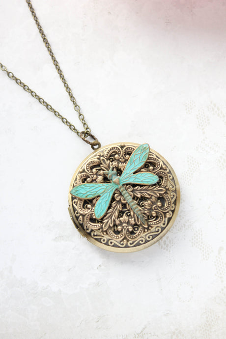 Big Dragonfly Locket Necklace NEW