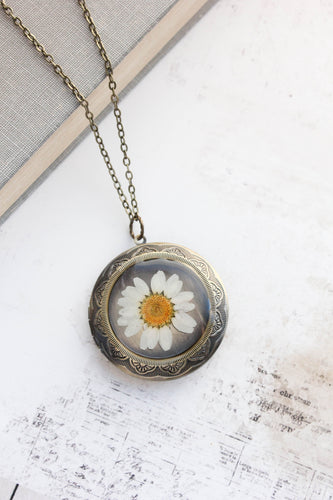 Daisy Locket - Pressed Flowers