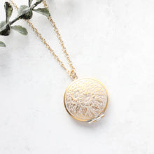 Load image into Gallery viewer, White Patina Floral Locket