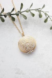 White Patina Floral Locket