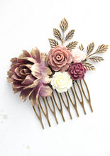 Load image into Gallery viewer, Berry Purple Floral Comb - C1010