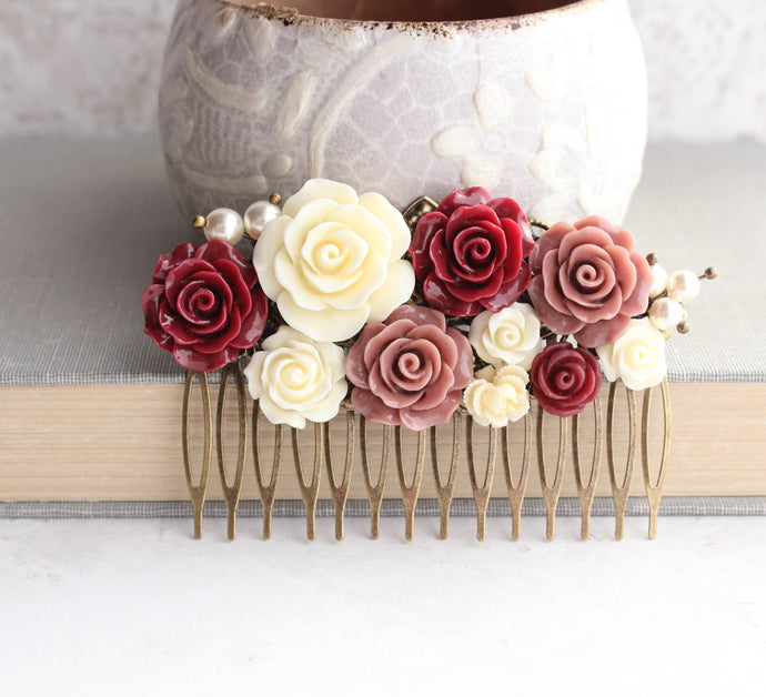 Deep Red and Dusty Rose Comb - C1015