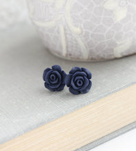 Load image into Gallery viewer, Rose Studs - Midnight Blue