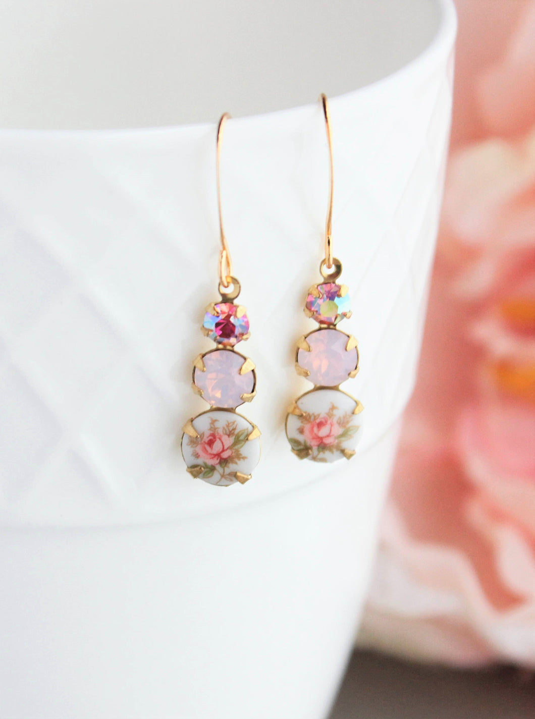 Rose Cameo Earrings - Pink