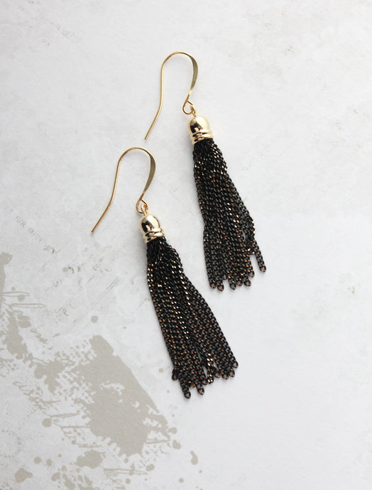 Black Chain Tassle Earrings