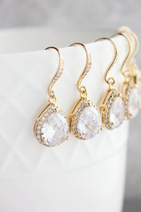 Crystal Drop Earrings - Gold