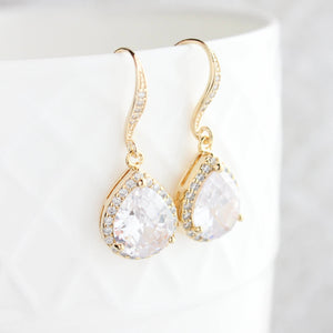 Crystal Drop Earrings - Silver