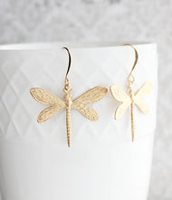 Load image into Gallery viewer, Dragonfly Earrings - Gold Brass