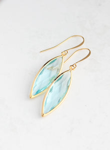 Marquis Drop Earrings - Aquamarine