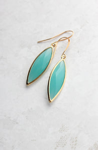 Marquis Earrings - Teal Gold