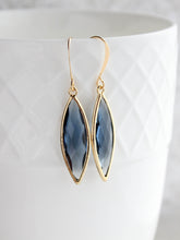 Load image into Gallery viewer, Marquis Drop Earrings - Navy/Gold
