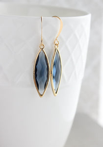 Marquis Drop Earrings - Navy/Gold