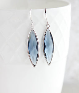 Marquis Drop Earrings - Navy/Silver