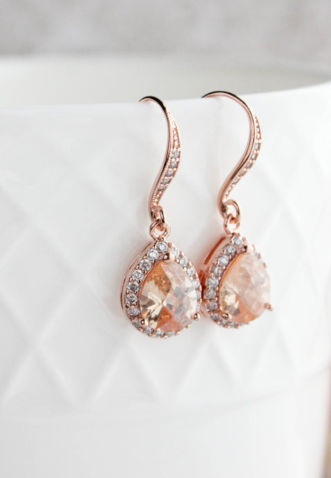 Peach Sparkle Drop - Rose Gold