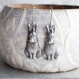 Rabbit Earrings - Antiqued Gold Brass
