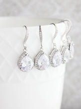 Load image into Gallery viewer, Crystal Drop Earrings - Silver