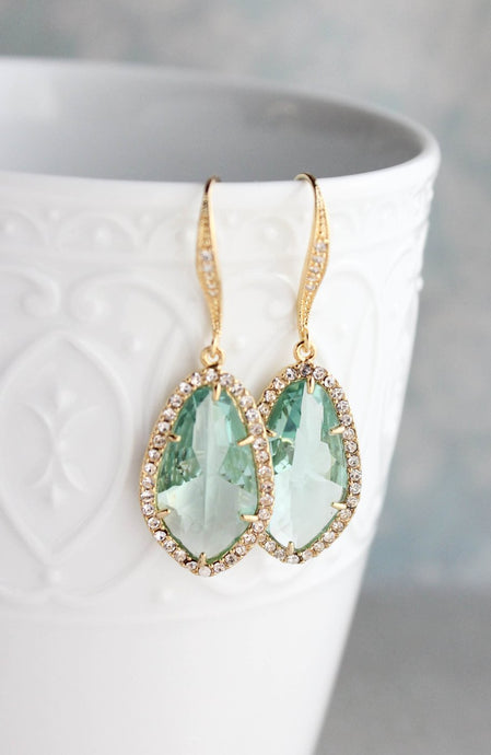 Sparkly Dangle Earrings - Erinite /Gold