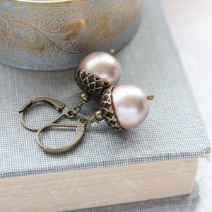 Pearl Acorn Earrings (16 Colors)
