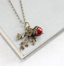 Load image into Gallery viewer, Acorn Necklace - Cranberry Red