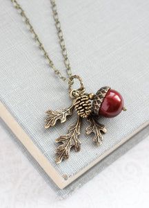 Acorn Necklace - Cranberry Red