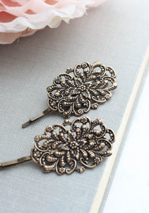 Rose Gold Filigree Bobby Pins