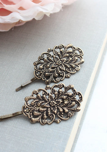 Filigree Bobby Pins - Antiqued Brass