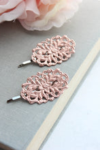 Load image into Gallery viewer, Filigree Bobby Pins - Verdigris Patina