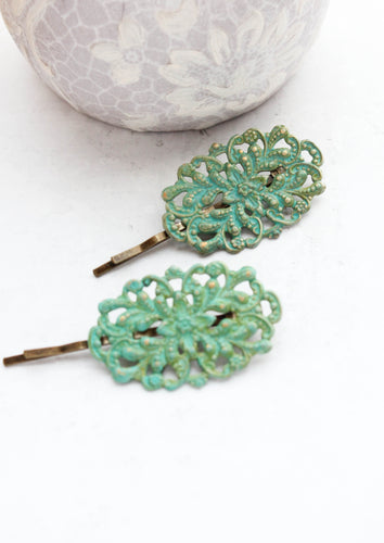 Filigree Bobby Pins - Verdigris Patina