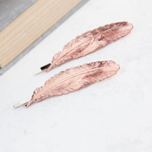 Load image into Gallery viewer, Rose Gold Feather Bobby Pins - 2 pc