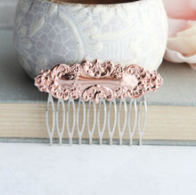 Load image into Gallery viewer, Rose Gold Floral Hair Comb