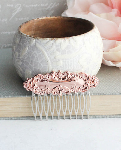 Rose Gold Floral Hair Comb
