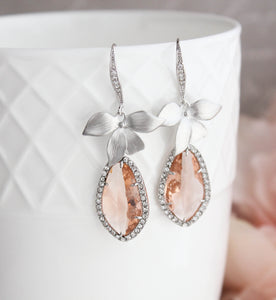 Orchid Sparkle Earrings - Peach/Silver