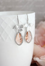 Load image into Gallery viewer, Orchid Sparkle Earrings - Peach/Silver